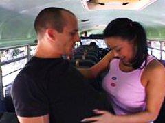 آسيوى, في الحافلة, بنات مدارس, بنات جميلات