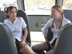 big cock, blonde, blowjob, brunette, bus, cock, cute, pigtails, teen, stockings