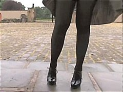 نكاح اليد, سيدات رائعات, خارج المنزل, جوارب طويلة