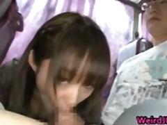 آسيوى, بنات جميلات, في الحافلة, الجنس فى مجموعة, بنات