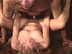 amateur, blond, echtgenote, diep in de keel, close-up