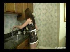 السمراوات, رجال, تستمنى زبه بيدها, إمناء, في المطبخ