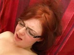 anal, blowjob, cumshot, facial, glasses, redhead, threesome, sex