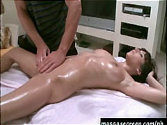 babe, brunette, busty, fetish, massage, oil, tattoo, fingering, massagecreep.com