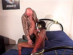 blowjob, boots, couple, ebony, interracial, anal sex, cum shot