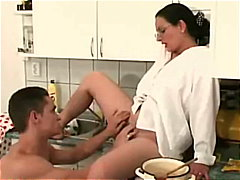 anal, blowjob, cumshot, glasses, kitchen, milf, bigtits, hairy-fetish