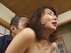 aziatisch, harig, japans, klaarkomen op het gezicht, sexy moeder