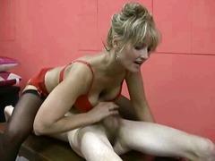 blonde, cumshot, handjob, lingerie, mature, milf, stockings, hot, titty fuck
