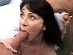 blowjob, brunette, facial, hardcore, housewife, milf, oral, pov, natural tits, ball licking
