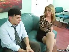 blond, pijpen, baas, bril, kantoor, pornoster, vagina, secretaresse, kousen, kleine borsten