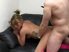 anal, ass, blowjob, boots, casting, couch, cumshot, pov, reality, tattoo