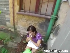 amateur, blowjob, brunette, cumshot, facial, public, reality, outdoors