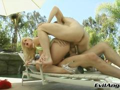 anaal, babe, prachtig, blond, sexy moeder, tiener, groep, buiten, dubbele penetratie