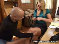 babe, blond, paar, bril, hard, sexy moeder, kantoor, pornoster, secretaresse, voet fetisj
