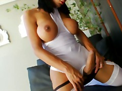 brunette, masturbation, shaved, shemale, solo, stockings, big-tits, big-boobs, garter, cock-riding