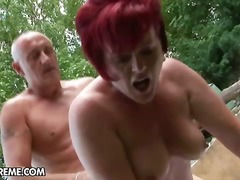 blowjob, cowgirl, granny, oral, redhead, old, girl-on-girl, hand-job, hard, outdoors