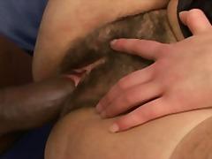 brünette, haarig, hardcore, interracial, große brüste