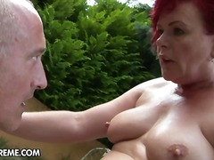 blowjob, cowgirl, doggy-style, granny, oral, redhead, old, girl-on-girl, hand-job, hard