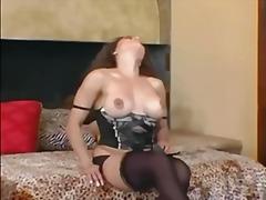 brunette, busty, heels, milf, stockings, pussy-eating, panties, nylons, strip-tease, lingerie-videos.com
