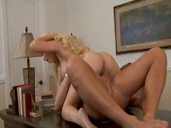 ass, blonde, facial, heels, lady, milf, naked, office, piercing, shaved
