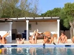 مجموعات, عرى, حمام السباحة, خلع الملابس, مراهقات