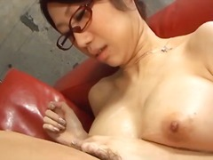 asian, blowjob, busty, cumshot, glasses, milf, sucking, cum-in-mouth, fuuka takanashi