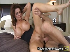 ass, bed, brunette, cougar, group, mature, milf, mom, shaved, threesome