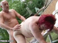 anal, blowjob, granny, hardcore, mature, redhead, outdoors
