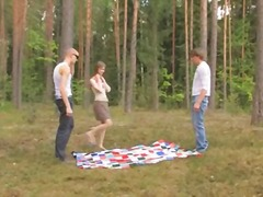 russian, teen, threesome, forest