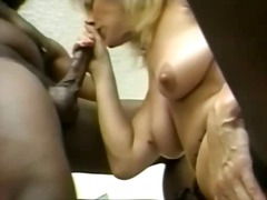 blonde, mature, stockings, sucking, interracia