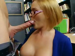 blonde, blowjob, glasses, lick, mature, pornstar, pussy, school, tits, work