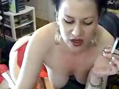 babe, brunette, masturbation, smoking