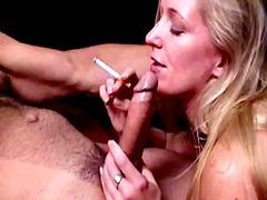 blonde, blowjob, couple, hardcore, oral, pov, smoking