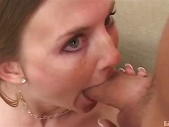 3some, blonde, blowjob, deepthroat, mmf, oral, tits, natural