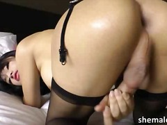asian, ladyboy, shemale, solo, toys, stroke