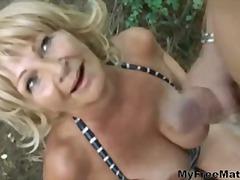blonde, mature, boobs, big, outdoors, sucking
