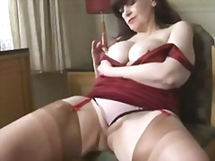 busty, cameltoe, granny, mature, milf, pussy, solo, strip, tits, upskirt
