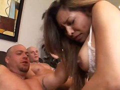 blowjob, brunette, latina, penetration, double, sucking