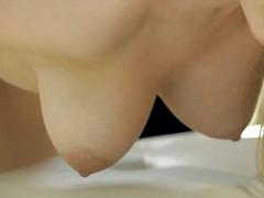 loura, masturbação, estrela pornô, raspada, a sós, tanga