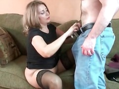 eating, milf, pussy, stockings