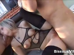 bisexual, blonde, blowjob, hardcore, mmf, threesome, riding