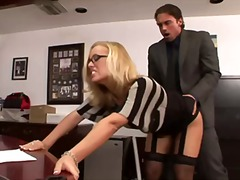 blonde, blowjob, couple, glasses, lingerie, masturbation, office, oral, pornstar, secretary
