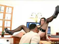 eating, pussy, secretary, fishnets