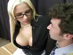 behind, big boobs, blonde, glasses, office, pornstar, skirt, teacher, tits, uniform