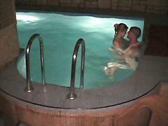 casal, câmaras escondidas, nu, piscina, espiar