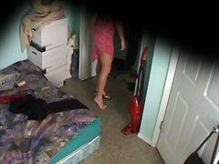 aangekleed, gluren, lingerie, bloot, spioneren, gluurder, meisje, bed
