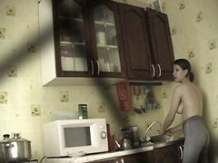 hidden, kitchen, spy, topless, voyeur, girls, jeans, candid