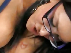 brunette, busty, glasses, handjob, lingerie, stocking, stockings, bigtits, panties, bigcock
