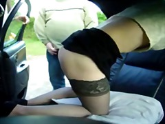 amateur, car, stockings, exhibitionist