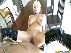 blonde, boots, pussy, shaved, tits, big, fucking